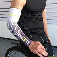 calentadores de brazos cubre al por mayor-Cool Men Ciclismo Deporte Correr Manga de bicicleta UV Protección solar Cuff Cover Brazo Manguito Bicicleta Deporte Brazo Mangas LJJZ567