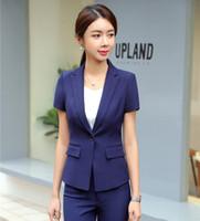 134bc9b2d9c Summer Formal Office Ladies Navy Blue Blazers Women Jackets Short Sleeve  Work Wear Business Clothes OL Styles