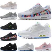 sapatos de corrida grátis rosa cinza venda por atacado-Nike Air Max 90 Shoes Mais barato Moda Esportes Tênis Para Mulheres Dos Homens Branco Preto Rosa Cinza Ao Ar Livre Dos Homens Tênis Atleta Trainer 36-45 Frete Grátis