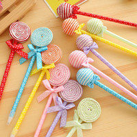 Wholesale happy baby ball for sale - Group buy 24pcs Lollipop Ball Pen Souvenirs Birthday Weeding Christmas Party Baby Shower Gift Happy Birthday Decoration Kids Favor