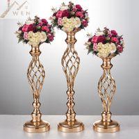 bougeoirs pour les fêtes achat en gros de-10 pcs vases à fleur d'or, bougeoir, stand, décoration de mariage, table en plomb, pièce maîtresse, pilier, lustre pour la fête
