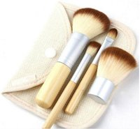 düğme yapma aletleri toptan satış-4 Adet Set Kiti ahşap Makyaj Fırçalar Güzel Profesyonel Bambu Ayrıntılı makyaj fırça Araçları Durumda fermuarlı çanta düğ ...