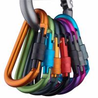ingrosso ganci a scatto a catena chiave-8 cm lega di alluminio moschettone D-ring portachiavi clip multi-colore campeggio portachiavi ganci a scatto kit da viaggio all'aperto rinvii DLH056