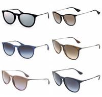 lunettes de soleil femme en ligne achat en gros de-Lunettes de soleil Vintage New Erika Cat Eye Marque RAY Lunettes de soleil Bandes Gafas de sol BEN Hommes Femmes BANS Miroir lentilles en verre avec étui en ligne