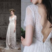 Wholesale sleeved wedding dresses resale online - Beach Country Bohemian Short Sleeved A Line Wedding Dresses V Neck Backless Plus SIze Floor Length Wedding Gowns Boho Bridal Dress