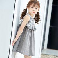 prinzessin kleidung farbabstimmung großhandel-Das Kleid der neuen großen Kinder der Kinder netter gestreifter Normallack, der Farbe Prinzessinkleid-Baumwollmädchenrock zusammenbringt