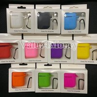 Wholesale earphone charger pack retail online – deals For Apple Airpods Case Protective Cover Portable Soft Silicone Case Skin Cover Protector for Airpods with Keychain Box Retail Pack