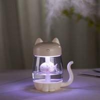 humidificador emf al por mayor-El mejor regalo del gato 350ML de Look humidificador ultrasónico del aroma del aceite esencial del difusor para la seguridad del coche con la luz y el ventilador