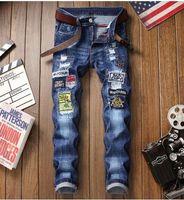 intervalos de luz venda por atacado-2019 nova chegada! Emblema quebrado Jeans Europeus Luz e americanos 3D Letter bordado Men