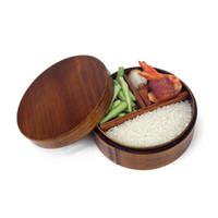 lancheiras japonesas venda por atacado-Japonês Bento Boxes Lancheira de madeira Sushi Recipiente portátil Recipiente de madeira