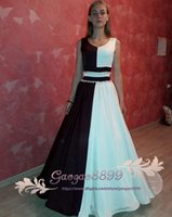 Wholesale stain sash for sale - 2019 A Line Prom Dresses with crystal beaded sash jewel neck chic Evening Dress black and white stain Party Gowns cheap custom made