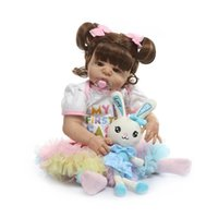 Wholesale doll silicone child resale online - Bebe reborn Inch cm full Silicone Newborn Baby Reborn Doll with Rabbit Babies Dolls Lifelike Real Bebe Doll for Children Birthday