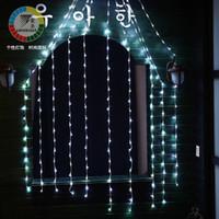 cortina lampara de agua al por mayor-Luces Cadena 220v100 Luz Barra de hielo Lámpara Ventana Cortinas Lámpara Corriente Agua Cascada Lámpara Cadena Festival Luces de Navidad para bodas