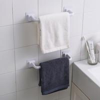 Wholesale corner pad for sale - Group buy Thick plastic bathroom wall towel hanger Free Punch towel bar scouring pad holder corner shelf storage rack Bathroom accessories