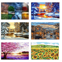 Wholesale oil paintings trees resale online - Frameless Digital painting diy Oil Painting By Numbers tree landscape Modern wall art canvas pictures hanging For Living Room home decor
