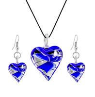 tierisches leder großhandel-Glas Eule Halskette Leder Seil Tier Anhänger Mode Persönlichkeit blaues Herz Herz Ohrringe Halskette Set A-746