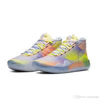 kd mor basketbol ayakkabıları toptan satış-Erkek Ne kd 12 basketbol ayakkabı Çiçek MVP Mor Mavi Easters Noel lebron 16 kevin durant kutusu ile yüksek üst sneakers tenis boyutu