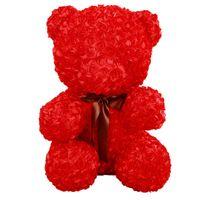 valentinstag teddybär geschenk großhandel-60cm Rose Teddy Bear Plüschtiere Weiche Gefüllte Künstliche Rose Blume Plüsch Rotbär Puppe Mädchen Geschenke für Frauen Valentinstag