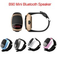 Wholesale mini smart watch phone resale online - B90 Mini Bluetooth Speaker Smart Watch Speaker Wireless Subwoofers Speaker With Screen Support TF FM USB