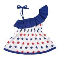 ingrosso vestiti 4 luglio-Girl Sling Ruffle Dresses Vestiti della stilista della neonata Bandiera americana Independence National Day USA 4 luglio Ragazza stelle Stampa gonna