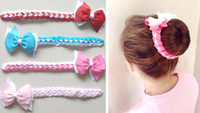 Wholesale bow clip head band resale online - 50pcs Updo hair Bun wraps bows clips Head Wrap gingham Hair band Headbands for girl women Hair Extensions Full Snood Accessories PD020