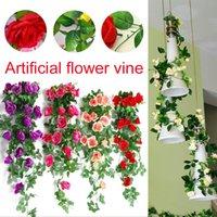 mode für zu hause künstliche blume groihandel-Emulation künstliche Rose Blumen 2.4M Home Decor Mode Festliche Rosen-Blumen-String Schöne Simulation Reben Ornament