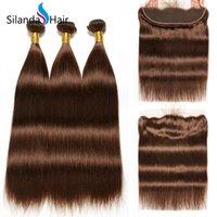 satış kapatma için saç paketleri toptan satış-Silanda Saç Saf Renk # 4 Düz Brezilyalı Remy İnsan Saç Örgüleri Ile 3 Dokuma Paketler 13X4 Dantel Frontal Kapatma Satılık Ücretsiz Nakliye