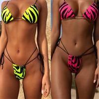 nuevo bikini de neón al por mayor-Sexy Snake Print Bikini Tanga 2019 Nuevo Micro Bikini Top Traje de baño Neon Green Mujer Bañistas Push Up Traje de baño Cadena Traje de baño