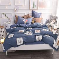 hirsch bettwäsche set königin großhandel-Cartoon Cotton Deer Printed Bettwäsche-Sets Queen-Size-Bettbezug-Set Bettwäsche Bettwäsche Bettlaken