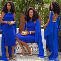 ingrosso abiti blu bassi blu navy-Sexy Backless Royal Blue Abiti da sera corti Club Wear 2017 High Low strass in chiffon di lunghezza del tè a buon mercato abito da promenade vest dress