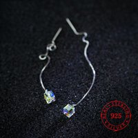 ingrosso porcellana argento sterling catene-Orecchini pendenti in argento sterling 925 a forma di goccia in argento sterling 925 per orecchini da donna gioielli in cristallo austriaco gioielli di moda Cina