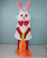 vestindo traje de mascote venda por atacado-Disconto da venda da fábrica adorável coelho branco coelho traje da mascote com cenoura para adultos a usar para venda