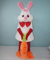 Wholesale movie costumes for sale for sale - Discount factory sale lovely white bunny rabbit mascot costume with carrot for adults to wear for sale