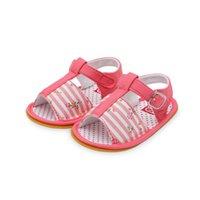 lindas sandalias de flores al por mayor-Unisex infantil para bebé niña niño sandalias para niños pequeños antideslizante suela de goma linda estampado de flores cuna de verano Primeros zapatos Walker