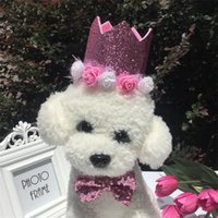 Wholesale puppets dog resale online - Puppet Dog Cat Birthday Hat Bow Tie Kids Children Crown Flower Party Hats Ties Birthday Dress Decor Festival Party Supplies