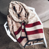 Wholesale red cashmere scarf women resale online - Plaid scarf for women autumn and winter new european british style thickened long warm imitation cashmere tassel shawl