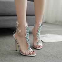 Wholesale sexy rhinestone t strap shoes for sale - Group buy PVC Design Rhinestone Transparent Stiletto Sandals Shoes Crystal T Strap Lady High Heels Shoes Sexy Female Party Shoes