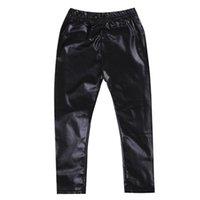 leggings de cuero para niños al por mayor-2019 niños pequeños niñas pantalones de cuero de primavera y verano leggings polar forrado flaco pantalones largos moda casual nueva venta