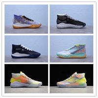 Wholesale kevin durant 12 high basketball shoes for sale - Group buy 2019 New Kevin Durant XII High KD Warriors Home Blue Yellow Mens Basketball Shoes Men Sports Shoes KD12 Sneakers Size