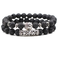 Wholesale vintage bracelets women resale online - Black Lava Natural Stone Beads Bracelets for Women Vintage Design Volcanic Rock Silver leopard head Bead Strand Bracelet Gifts
