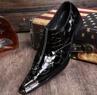 spitzen männer schuh großhandel-Spitze Herrenschuhe aus Amerika Metall mit Stahlkappe Echtes Leder Mode Herren Business Lederschuhe Herren Hochzeitsfestschuh td19