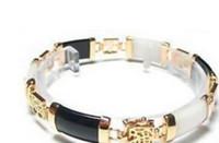 ingrosso bracciale giallo oro giallo-bracciale Exquisite Black White Jade Bracelet Bracciale in oro giallo 18 carati, 7,5 pollici