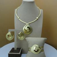 conjuntos de ouro puro de 18k venda por atacado-FHK6440 Hot Sale Mulheres Dubai Moda Exclusiva Elegante Jóias Acessórios de Alta Qualidade Banhado A Ouro Conjuntos de Jóias