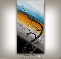 Wholesale large tree life painting resale online - Framed Tree PAINTING modern still life blue art large tree abstract LANDSCAPE art Oil Painting Qn Canvas Multi sizes Ab075