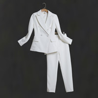 weibliche geschäftskleider großhandel-Frauen weiße dünne Hose passt weibliches Anzugkleid Kerbe Revers Business Business Smoking Smoking Jacket + Pants Damenanzug