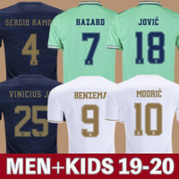 madrid futebol venda por atacado-Camisas De Futebol Real Madrid 19 20 HAZARD JOVIC MILITAO camisa de futebol 2019 2020 VINICIUS JR ASENSIO camisa de futebol para crianças MARCELO ISCO kids camisa de futebol