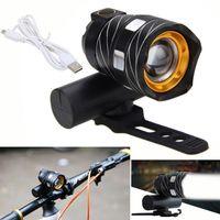 zoom fahrrad großhandel-15000LM T6 USB Rücklicht Einstellbare Fahrradbeleuchtung 3000mAh Akku Zoom Front Fahrrad Scheinwerfer Lampe mit Rücklicht