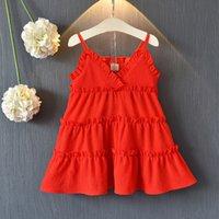 bebek kız kore kırmızı elbise toptan satış-Kızlar 2019 yaz yeni Kore şifon kırmızı prenses elbise bebek kız etek plaj tatil çocuk etek