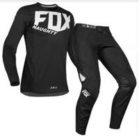 mx gear achat en gros de-Livraison gratuite 2017 NAUGHTY FOX 360 bleu Flight Pant / Jersey MX Motocross Dirt Bike ATV Gear Offroad Downhill RACING JESEY