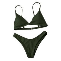 8585cde678 2019 Hot sale Women Bikini Set Sexy Army Green two-piece suits Push-Up  Padded Bra Beach Bikinis solid Swimsuit Swimwear #3d07